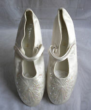 "WOMENS BHS White Satin Low Heel 0.5"" Pump/Ballerina Shoes Size:3/36(WS37)"