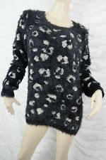 PINGPONG black beige animal leopard print fuzzy feather knit jumper size XL EUC
