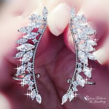 18K White Gold Filled Clear Crystal Sparking Wings Stud Ear Climbers Earrings