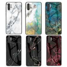 For Samsung Galaxy Note 10 Plus 9 8 Marble Tempered Glass Hybrid Hard Case Cover