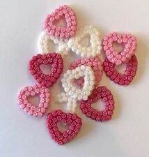 12 WHITE & PINKS HEARTS VALENTINES WEDDING EDIBLE ICING CAKE TOPPERS