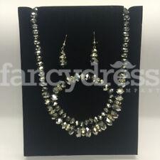 Earrings Bracelet Jewellery Prom Weddin Graphite Silver Metallic Beaded Necklace