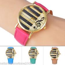 Fashion Women Unusual Music Note Leather Strap Band Analog Quartz Wrist Watch NG