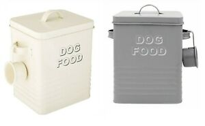 METAL DOG FOOD STORAGE LESSER & PAVEY HOME TIN WITH SCOOP AND LID CREAM OR GREY