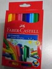 Faber Castell 10 Stück Fasermaler Filzstifte Connector mit 4 Connector Clips