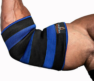 Elbow Sleeves Double Ply Power Lifting Body building Strongman Gym Support Blue