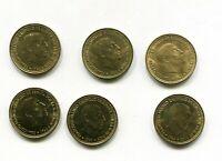 LOTE X6 1 peseta  FRANCO 1966  SC sacadas de rollo  las 6 años diferentes