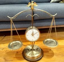 Vintage United Sessions Scale Of justice Clock Balance Brass Eagle Keeps Time