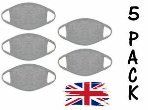 FACE MASK PACK OF 5 REUSABLE WASHABLE COTTON MASKS NOSE MOUTH PROTECTIVE SHIELD