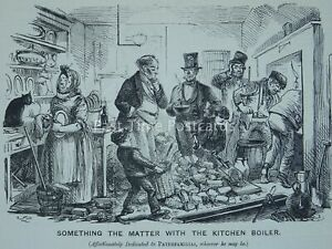 THE KITCHEN BOILER - SOMETHING THE MATTER? - Original 1854 Victorian Print