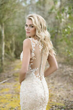 Lillian West ~ 6472 ~ Champagne Illusion Back & Sleeve Wedding Gown ~ size 12