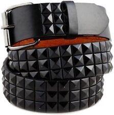 3-Row Metal Pyramid/Maltese Cross Studded Leather Belt Unisex Punk Rock Goth Emo