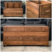 Rustic Farmhouse Style Handcrafted Wooden Storage Trunk Chest Coffee Table