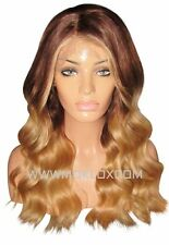 Human Hair Wig Front Lace 20 Long Balayage Ombre Medium Brown 4 Blonde 27 Moklox