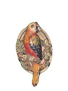 Vintage Hubley Cast Iron Parrot Door Knocker Painted 3 inch