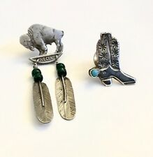 Vintage Silver Cowboy Boot & Turquoise & Buffalo Nickel With Feathers Tie Tacks