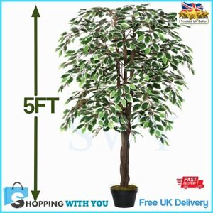 tall artificial plant 5ft ficus large fake tropical tree decor indoor outdoor uk