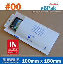 200x Bubble Envelope #00 100mm x 180mm White Padded Bag Mailer