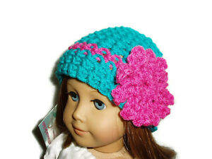 """Teal Crochet Beanie Hat with Pink Flower Fits American Girl 18"""" Doll Clothes"""