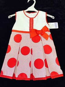 NEW GIRLS OFFICIAL SPANISH RED & WHITE DRESS POLKA DOT & BOW DETAIL 1-2 YEARS