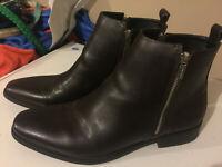 Calvin Klein Raxton Mens Genuine Leather Boots Dark Brown Size 10.5