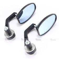 "Black&Silver Motorcycle Bike 7/8"" HandleBar End Side Rear View Mirrors Yamaha"