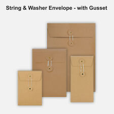 More details for all size brown string&washer with gusset envelope button tie manilla free p&p