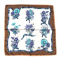 Fendi Silk Square Scarf Zucchino Logo Floral White Blue Orange 48cm Authentic