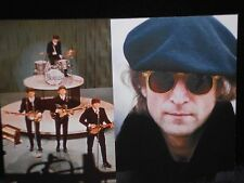2 New Color Photo Postcards Beatles Ed Sullivan Show, John Lennon Central Park