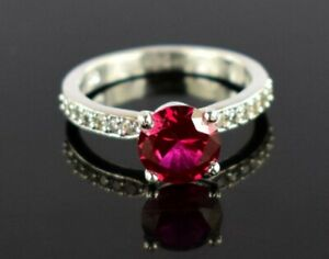 3 Ct. Natural Round Ruby Gemstone 925 Sterling Silver Wedding Ring
