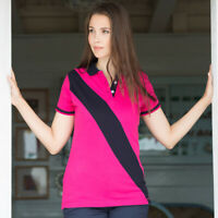 Front Row Women's Diagonal Stripe Short sleeve House Polo Shirt Ladies Slim Fit