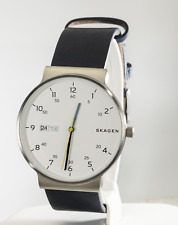 Skagen Men's Ancher Blue Leather Watch SKW6455, New
