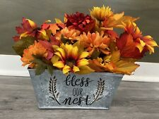 "Centerpiece Table Decor Earth Tone Silk Flower Arrangment In ""Bless Our N"