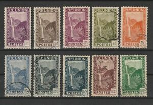 Reunion - 1933/40 SG134-143 USED (1 MH) waterfall stamps