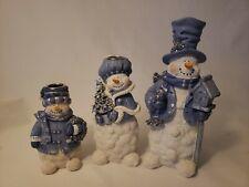 Set of 3 Snowmen Candleholders Blue & White in Box