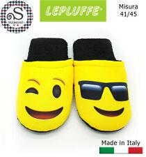 Ciabatte Spugna stampa digitale EMOTICON pantofole da casa, LEPLUFFE® Uomo 41/45