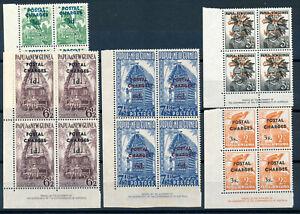 PAPUA & NEW GUINEA 1960 POSTAGE DUES SG D2/6 IMPRINT BLOCKS OF 4 MNH