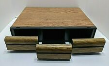 Cassette Tape Storage Case 3 Drawer Holds 42 Tapes Faux Wood Finish Cabinet