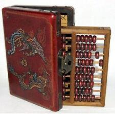 China old computing equipment abacus leather wooden dragon phoenix jewel box set