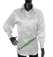 White Satin Long Sleeve Shirt Blouse For Girls Lady Casual Style Office Wear Top