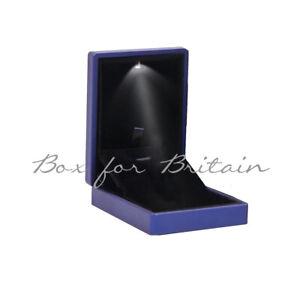 Led Pendant Box, Luxury Soft Touch Blue Pendant Necklace Box with LED Light.