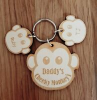PERSONALISED FATHERS DAY GIFT WOODEN KEYRING MONKEY DAD DADDY BIRTHDAY CHRISTMAS