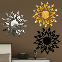 3D Mirror Sun Art Removable Wall Sticker Acrylic Mural Decal Home Room DIY Decor