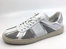 """NEW $450 Paul Smith """"Levon"""" Union Jack leather sneakers UK 7 US 8 White Silver"""