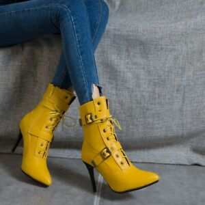 Women's Pointed Toe Stiletto High Heel Strappy Ankle Boots Buckle Clubwear Shoes