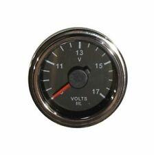 """Voltmeter gauge, 2""""/52mm, 9-17V, black/chrome, white LED, 001-V-BC"""