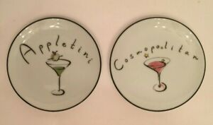 Pottery Barn White Ceramic Martini Themed Coasters Cosmopolitan Appletini Set 2