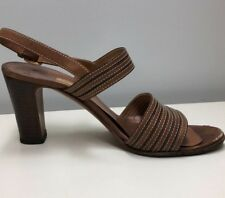 a0e734d24ca7 Gucci Leather Stacked Heel Sandals 36 1 2 B Vintage Authentic