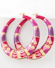 """NEW Pink & Purple Tribal Print Hoop Earrings 2 1/2"""" Hoops"""