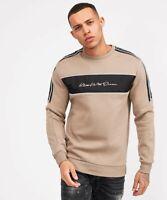 Kings Will Dream Mens New KWD Crew Neck Sweatshirt Long Sleeve Sand Black Noston